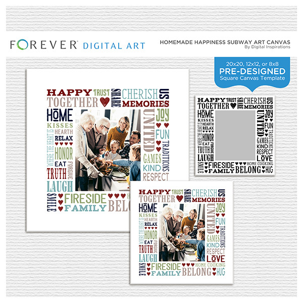 Homemade Happiness Subway Art Canvas Digital Art - Digital Scrapbooking Kits
