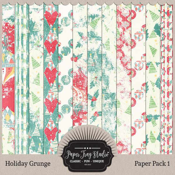 Holiday Grunge - Set 1 Digital Art - Digital Scrapbooking Kits