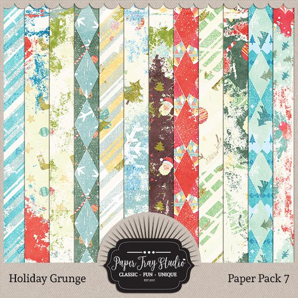 Holiday Grunge - Set 7 Digital Art - Digital Scrapbooking Kits