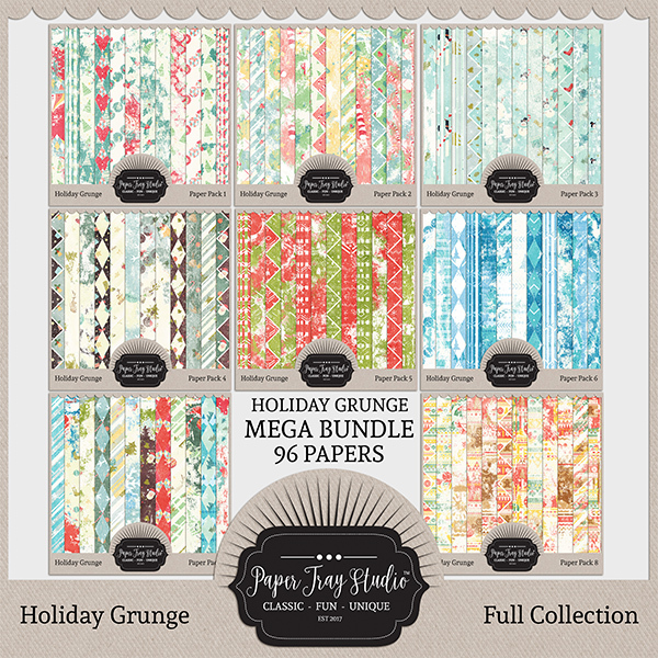 Holiday Grunge Mega Collection Digital Art - Digital Scrapbooking Kits