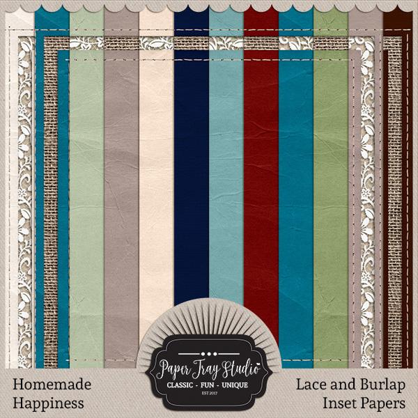 Homemade Happiness - Lace And Burlap Papers Digital Art - Digital Scrapbooking Kits