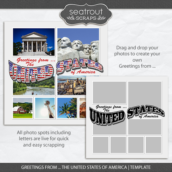 Greetings From The United States Of America Template Digital Art - Digital Scrapbooking Kits