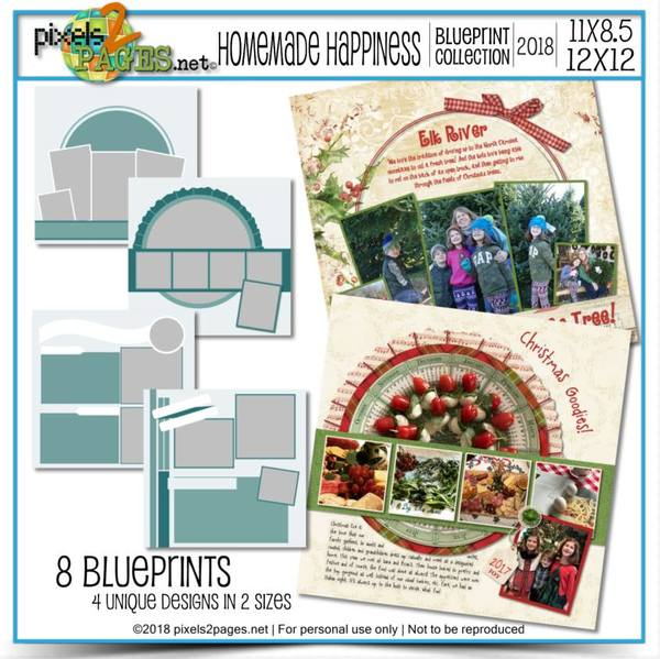 Homemade Happiness Blueprint Collection (12x12 And 11x8.5) Digital Art - Digital Scrapbooking Kits