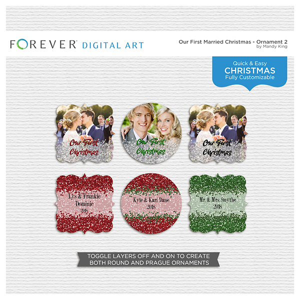 First Married Christmas - Ornament 2 Digital Art - Digital Scrapbooking Kits