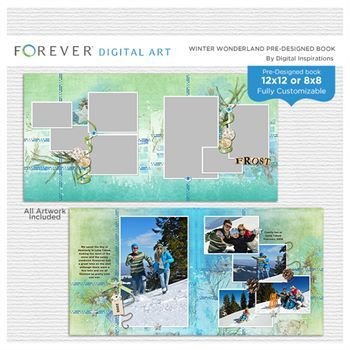Winter Wonderland Pre-designed Book Digital Art - Digital Scrapbooking Kits