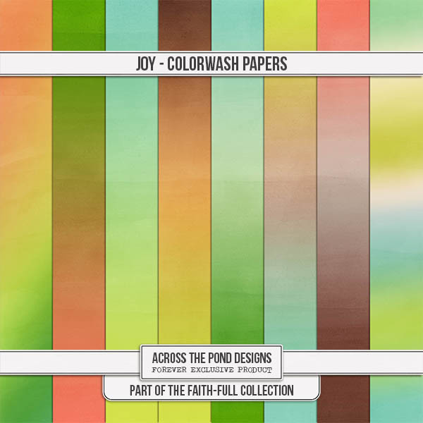 Faithfull Series - Joy - Colorwash Papers Digital Art - Digital Scrapbooking Kits