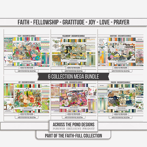 Faithfull Series Mega Bundle (Faith, Fellowship, Gratitude, Joy, Love And Prayer) Digital Art - Digital Scrapbooking Kits