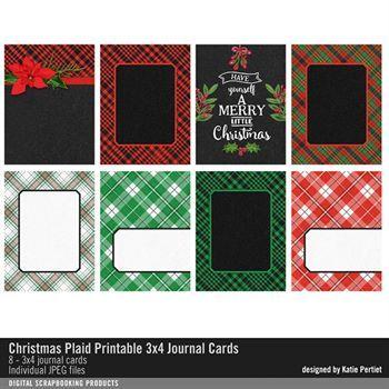 Christmas Plaid Printable 3x4 Journal Cards Digital Art - Digital Scrapbooking Kits