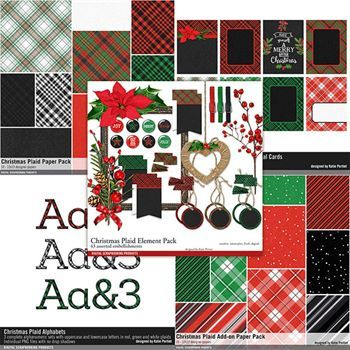 Christmas Plaid Scrapbooking Collection Digital Art - Digital Scrapbooking Kits