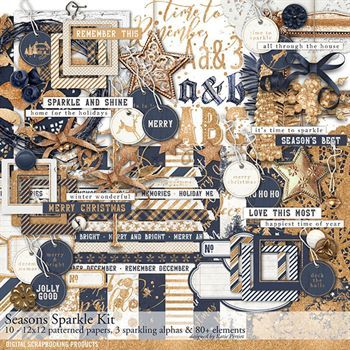 Seasons Sparkles Scrapbook Kit Digital Art - Digital Scrapbooking Kits