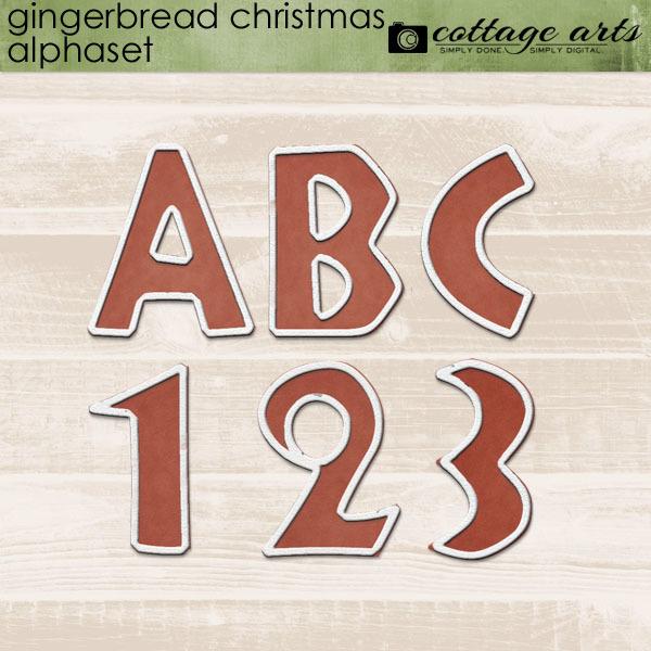 Gingerbread Christmas Alphaset Digital Art - Digital Scrapbooking Kits