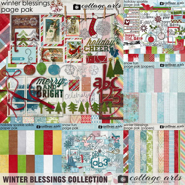 Winter Blessings Collection Digital Art - Digital Scrapbooking Kits