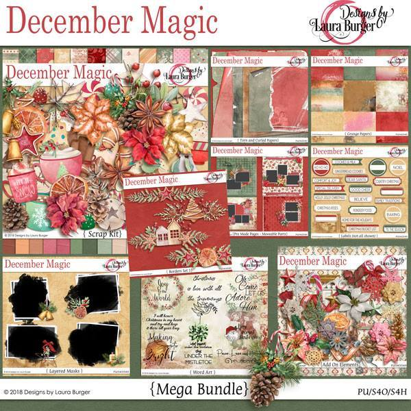December Magic Mega Bundle Digital Art - Digital Scrapbooking Kits