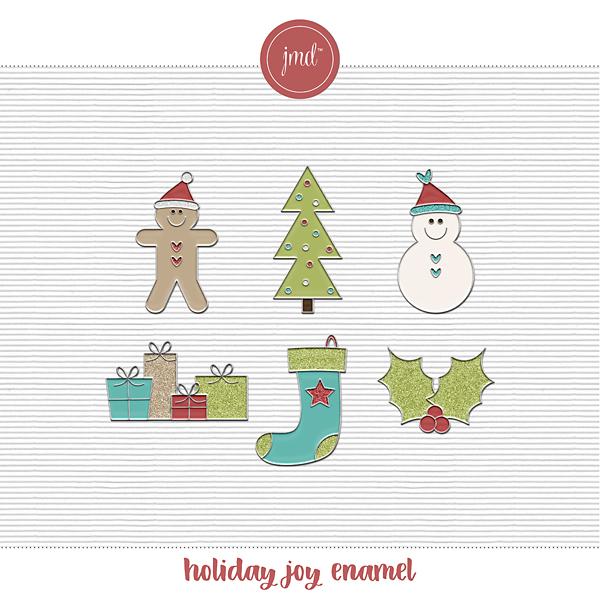 Holiday Joy Enamel Digital Art - Digital Scrapbooking Kits