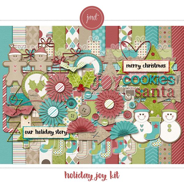 Holiday Joy Kit Digital Art - Digital Scrapbooking Kits
