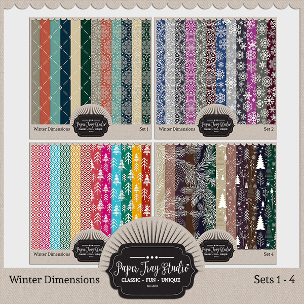 Winter Dimensions - Sets 1-4 Digital Art - Digital Scrapbooking Kits