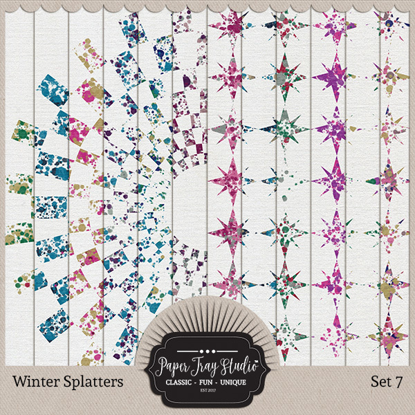 Winter Splatters - Set 7 Digital Art - Digital Scrapbooking Kits