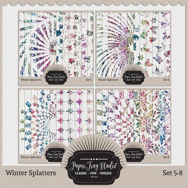 Winter Splatters - Sets 5-8 Digital Art - Digital Scrapbooking Kits