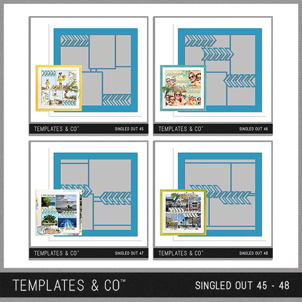 Singled Out 45-48 Digital Art - Digital Scrapbooking Kits