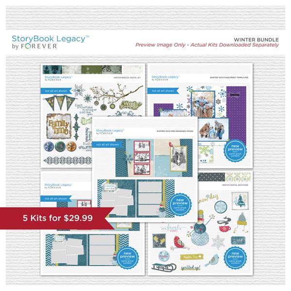 Winter StoryBook Legacy™ Bundle Digital Art - Digital Scrapbooking Kits
