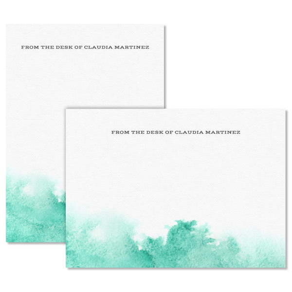 Watercolor Stationery Teal Card