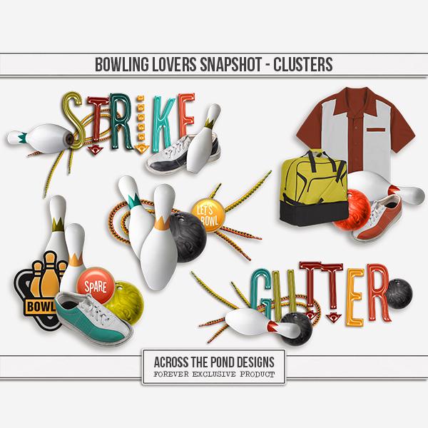 Bowling Lovers Snapshot - Clusters Digital Art - Digital Scrapbooking Kits