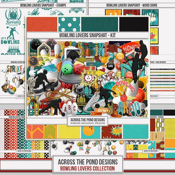 Bowling Lovers Snapshot - Mega Collection Digital Art - Digital Scrapbooking Kits