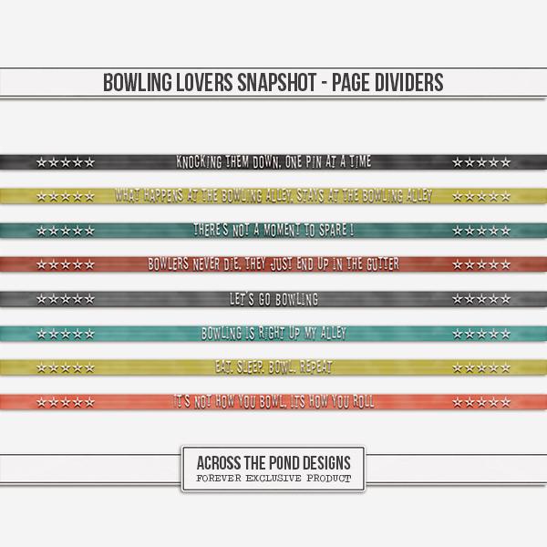 Bowling Lovers Snapshot - Page Dividers Digital Art - Digital Scrapbooking Kits