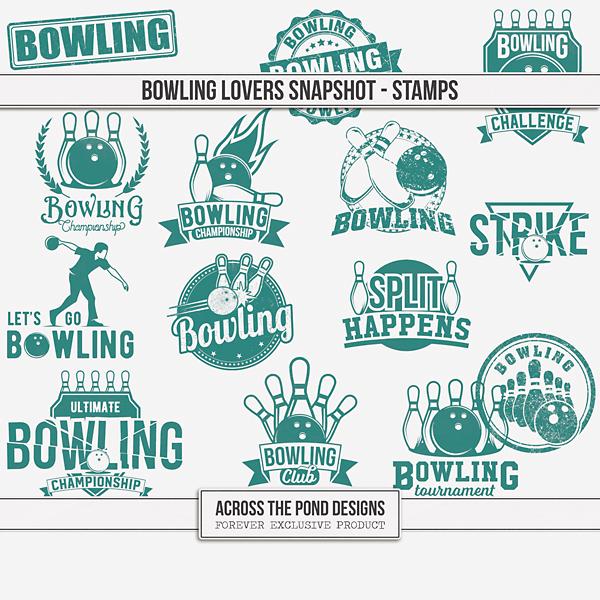 Bowling Lovers Snapshot - Stamps Digital Art - Digital Scrapbooking Kits