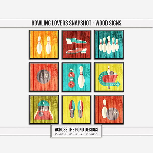 Bowling Lovers Snapshot - Wood Signs Digital Art - Digital Scrapbooking Kits