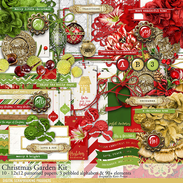 Christmas Garden Scrapbooking Kit Digital Art - Digital Scrapbooking Kits