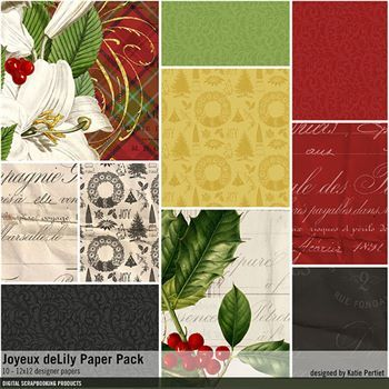Joyeux Delily Paper Pack Digital Art - Digital Scrapbooking Kits