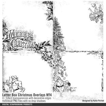 Letter Box Christmas Overlays No. 04 Digital Art - Digital Scrapbooking Kits