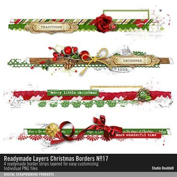Readymade Layers Christmas Borders No. 17 Digital Art - Digital Scrapbooking Kits