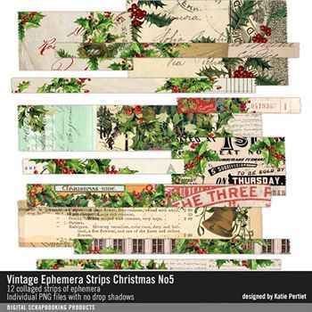 Vintage Ephemera Strips No. 05 Christmas Digital Art - Digital Scrapbooking Kits