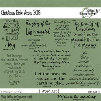Christmas Bible Verses Digital Art - Digital Scrapbooking Kits