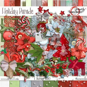Holiday Parade Scrap Kit Digital Art - Digital Scrapbooking Kits