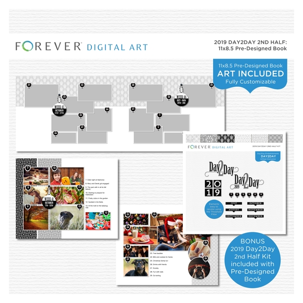 2019 Day2Day 2nd Half Pre-designed Book 11x8.5 Digital Art - Digital Scrapbooking Kits