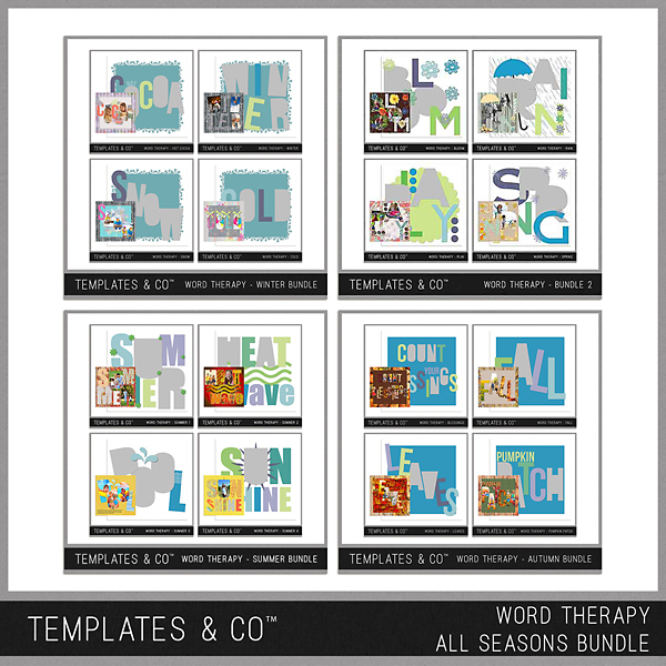 Word Therapy - All Seasons Bundle Digital Art - Digital Scrapbooking Kits