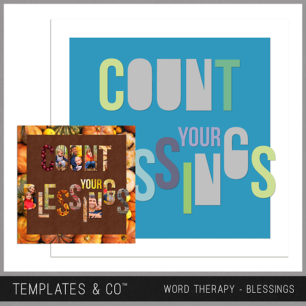 Word Therapy Autumn - Blessings Digital Art - Digital Scrapbooking Kits