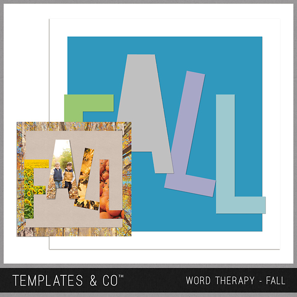 Word Therapy Autumn - Fall Digital Art - Digital Scrapbooking Kits