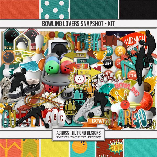 Bowling Lovers Snapshot - Page Kit Digital Art - Digital Scrapbooking Kits