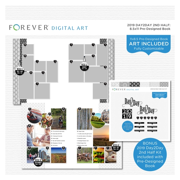 2019 Day2Day 2nd Half Pre-designed Book 8.5x11 Digital Art - Digital Scrapbooking Kits