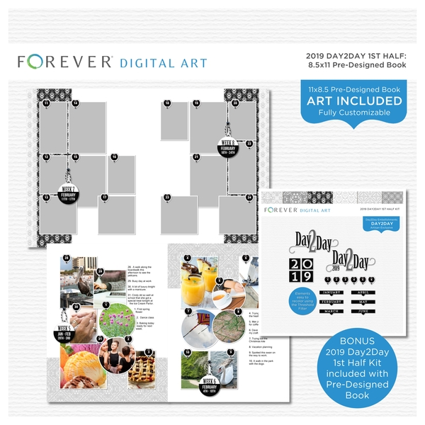 2019 Day2Day 1st Half Pre-designed Book 8.5x11 Digital Art - Digital Scrapbooking Kits