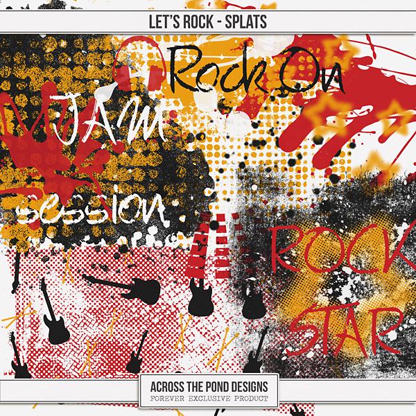 Let's Rock - Splats Digital Art - Digital Scrapbooking Kits