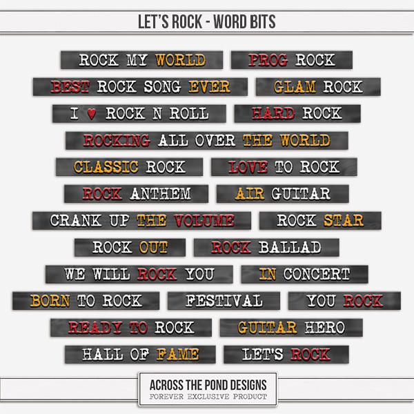 Let's Rock - Word Bits Digital Art - Digital Scrapbooking Kits