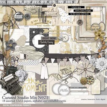 Curated Studio Mix Scrapbooking Kit No. 21 Digital Art - Digital Scrapbooking Kits