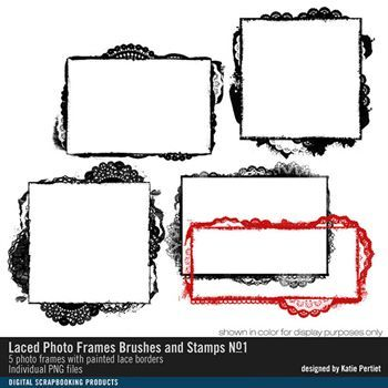 Laced Photo Frames Brushes And Stamps No. 01 Digital Art - Digital Scrapbooking Kits