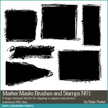 Marker Photo Masks Brushes And Stamps No. 01 Digital Art - Digital Scrapbooking Kits