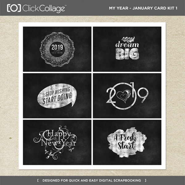 My Year - January Card Kit 1 Digital Art - Digital Scrapbooking Kits